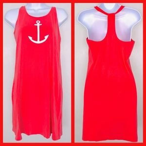Nautica Dress M Salmon Anchor Halter Summer DD6